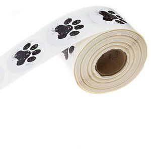 500 Distressed dog paw print stickers labels